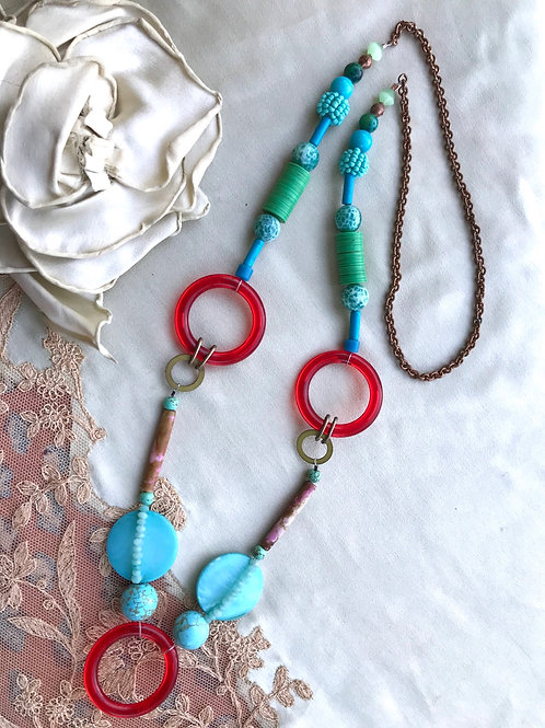 Red ring blue baby necklace