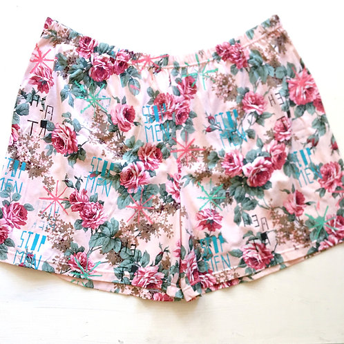 Pale Pink Floral Shorts 4XL