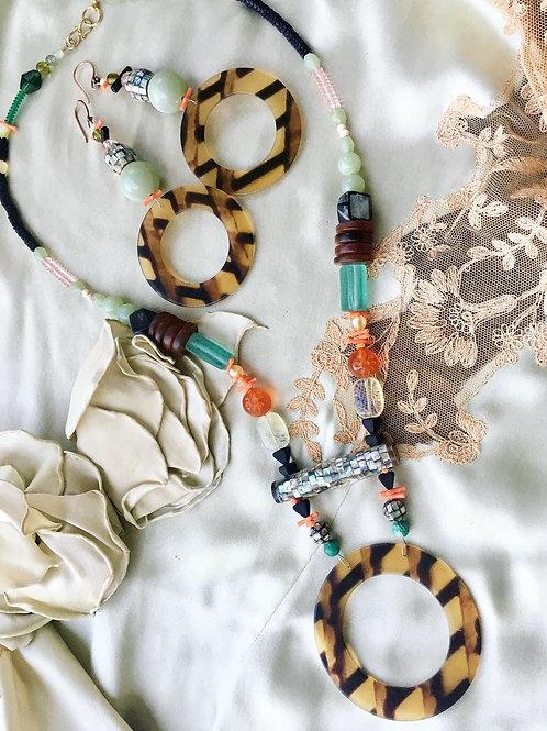 Tortoise ring necklace + earring set