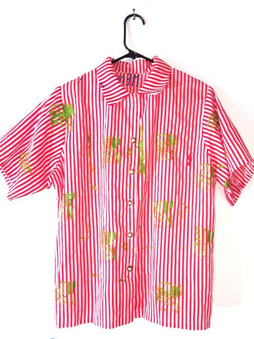 Red/White Candy Stripe Button Down Top