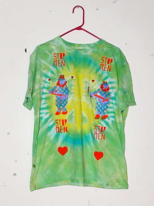 for real crazy clown print shirt  21inch shoulder  28inch length