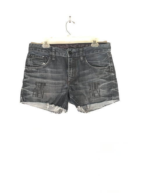 Whiskered Denim Shorts with Minimal Black & White Print