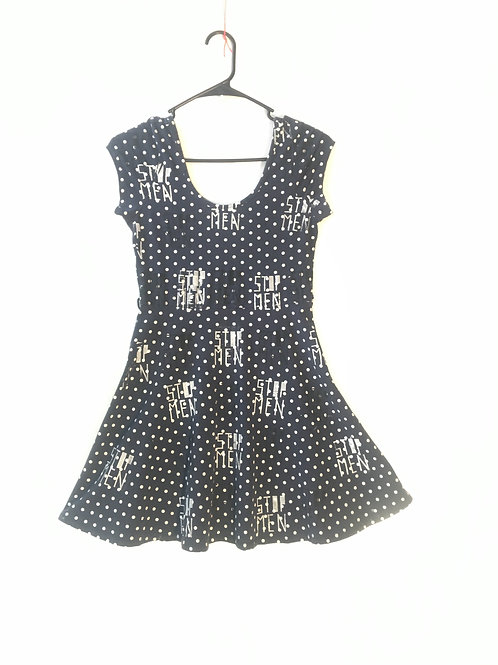worn fadded Small polkadot dress stretchy 12.5 in unstretched waist Length 35
