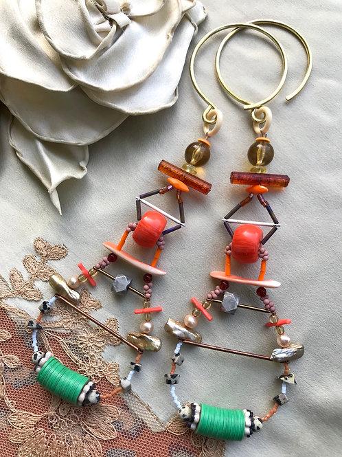 Amber temple gauged earrings