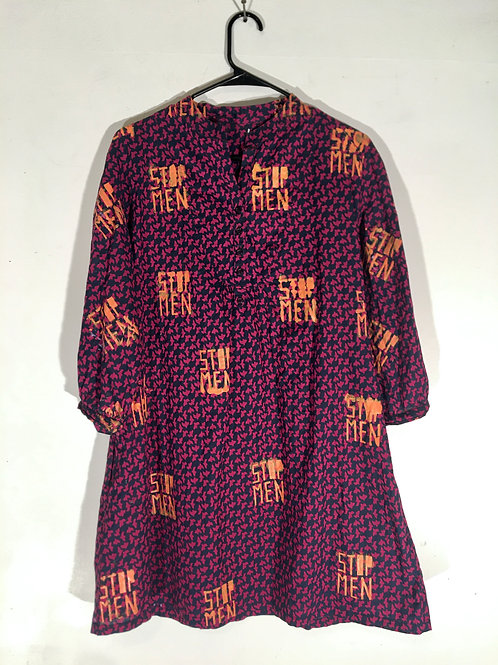 Swallow Print Pink Purple Tunic Dress M/L