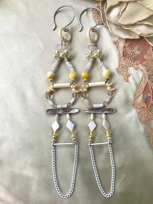 White dahlia gauged earrings