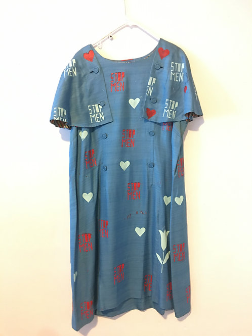 Vintage Blue Capelet/Shaw Button 1960s Dress 3XL/4XL