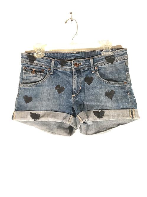 Cuffed Short Black Hearts Jean Shorts XXS -XS