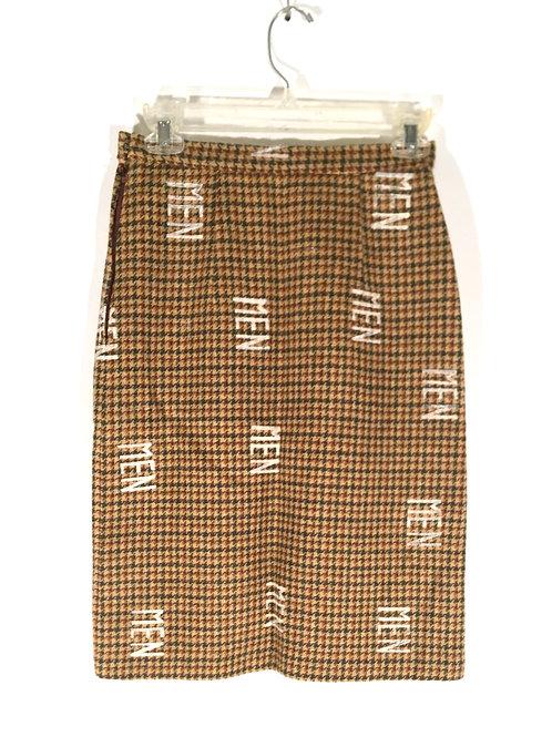 Vintage Camel Plaid Pencil Tweed Skirt XXS-XS