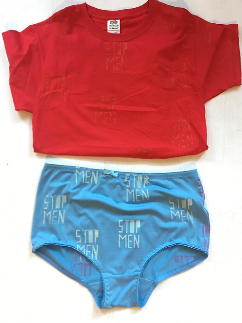 LOOK: Red Tee & Teal Undies