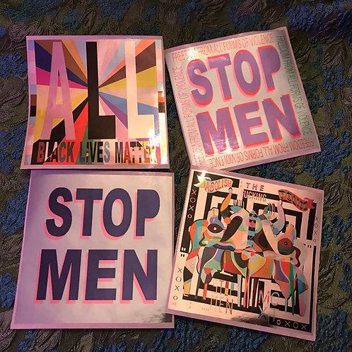 STOP MEN 8 silver sticker set // 2 sets of 4