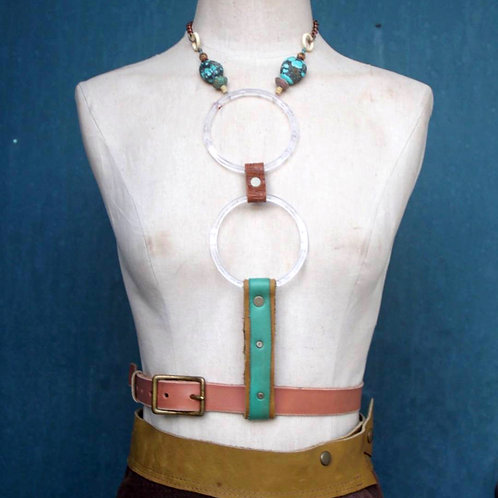 turquoise// 2 moon lucite ring harness