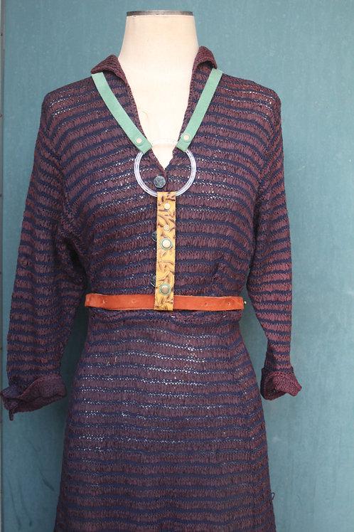Lucite half suspender harness/// turquoise + autumn