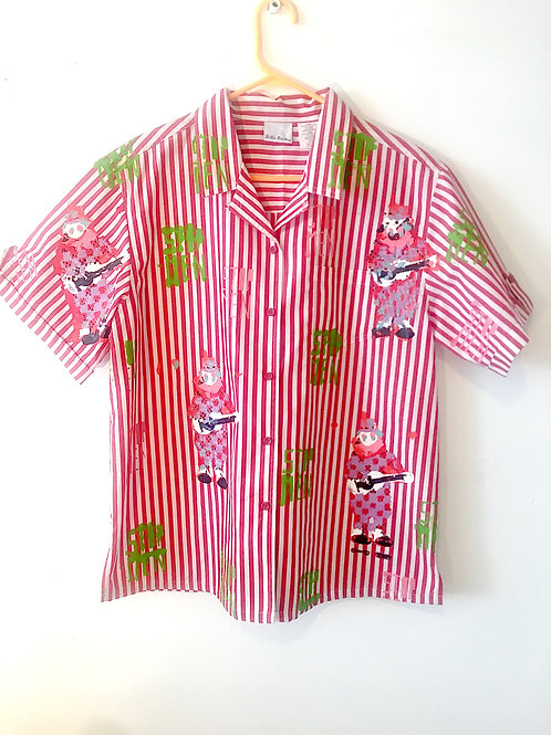 Red Striped Clowin Around Button Up Short Sleeve Shirt XL
