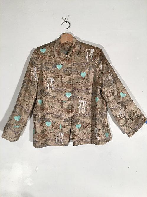 Vintage Beige Asian Landscape Brocade jacketwith Mint Hearts / Roses Back L