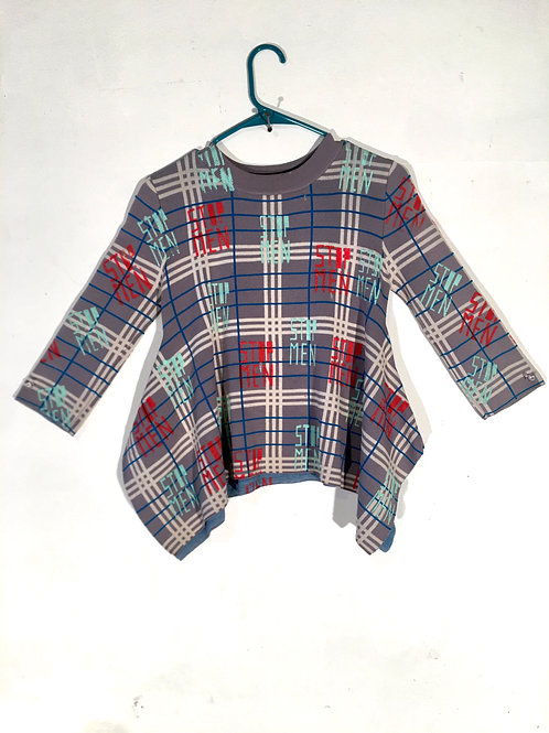 Plaid Flared Knit Top with Robins Egg & Red Print XS/S