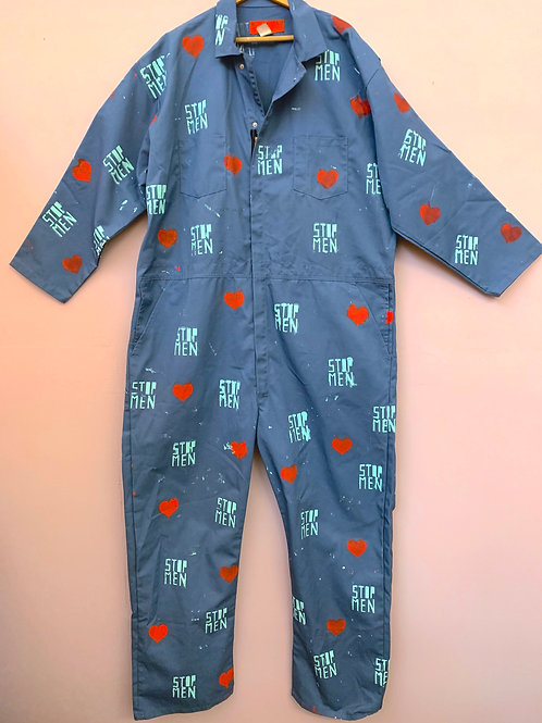 Slate Blue Jumpsuit with Hearts 3XL