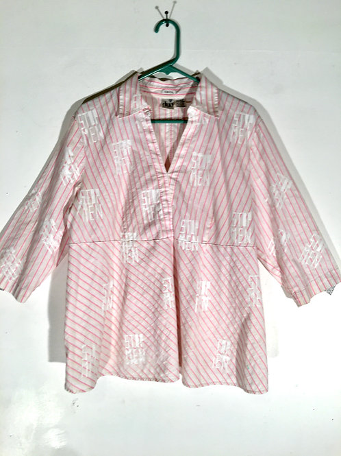 Pink Striped Collar Top XL Maternity