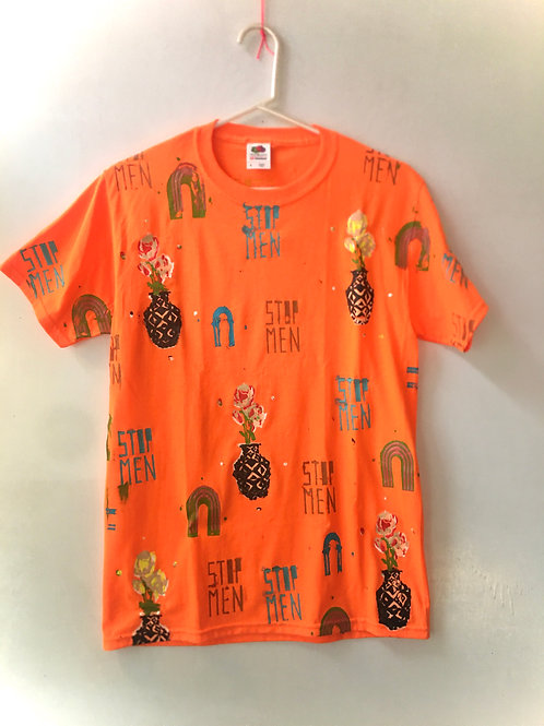 Fluorescent orange T-shirt size small shoulder is 17 inches length 27