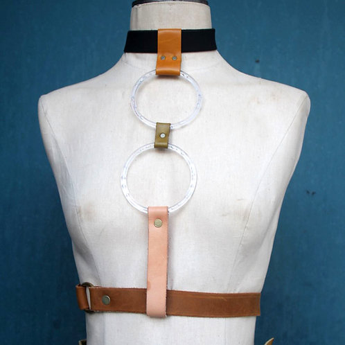 desert haze with collar// 2 moon lucite ring harness