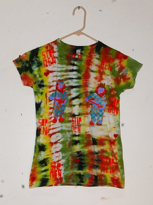 for real crazy clown print shirt 15 inch shoulder 24.5 inch length