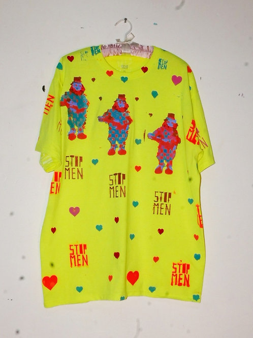 for real crazy clown print shirt  22inch shoulder  31inch length