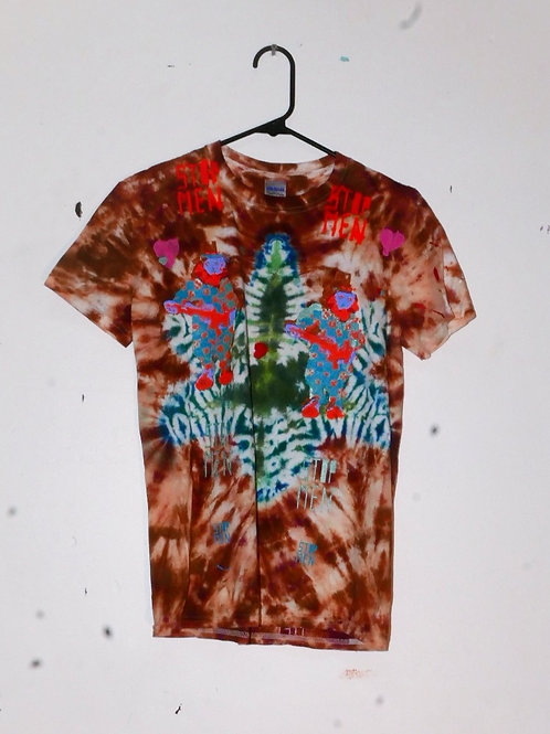 for real crazy clown print shirt  16inch shoulder  25inch length