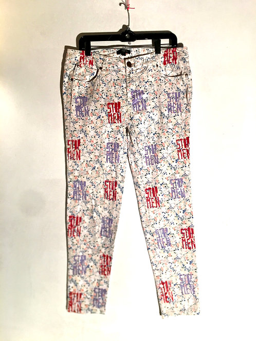 White floral jeans size 13  18 inch waist 38 inch Length