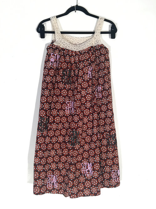 Vintage Retro Floral Print Summer Dress  L