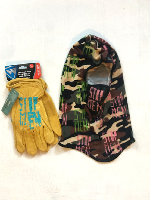 LOOK: Camo Ski Mask & Yellow Gloves
