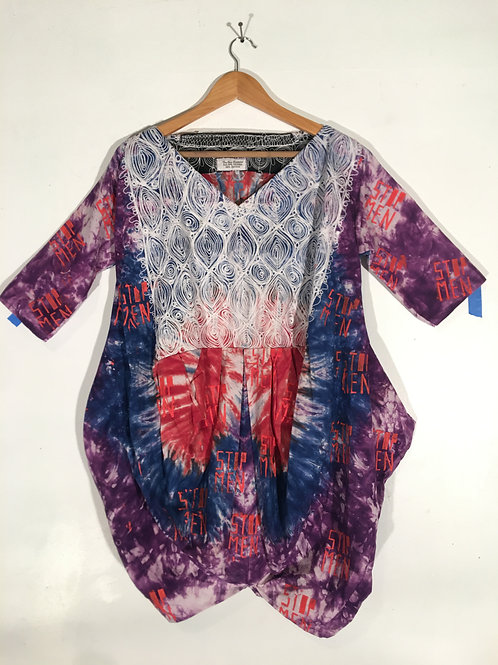 Dyed Cotton Tunic Dress with Applique XL/2XL