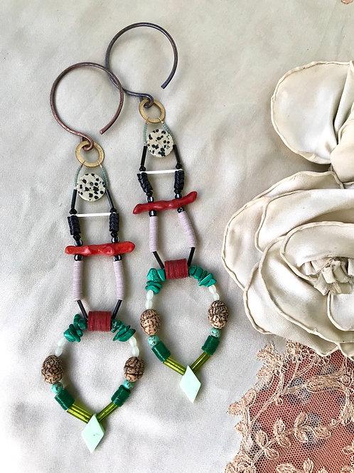 Malakite & coral star ladder earrings (gauged)