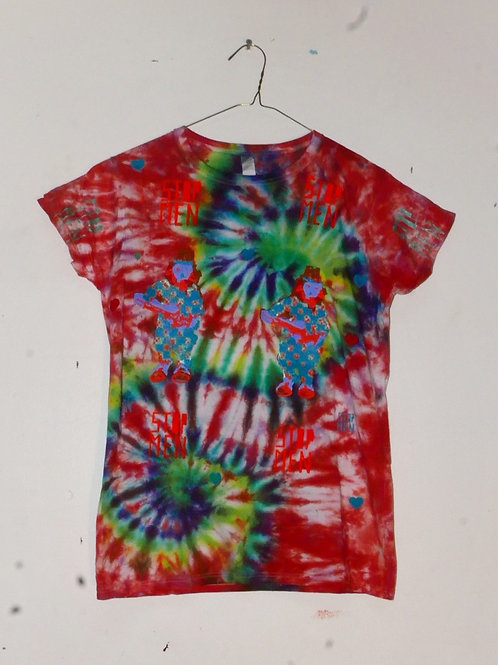 for real crazy clown print shirt  15inch shoulder  26inch length