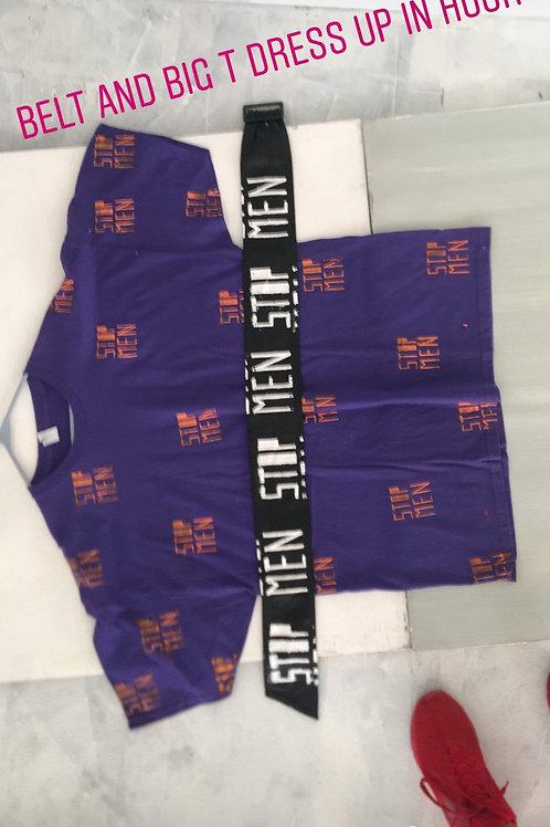 t shirt belt dress, shirt xxL 26 shoulder 33inlength belt 4.5 w 45in length