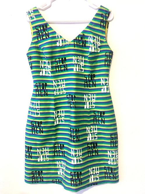Vintage 60s Green Yellow, Blue Striped Shift Dress M