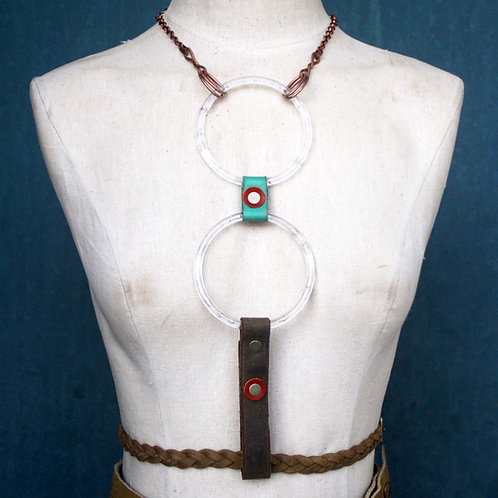 rusted braid// 2 moon lucite ring harness