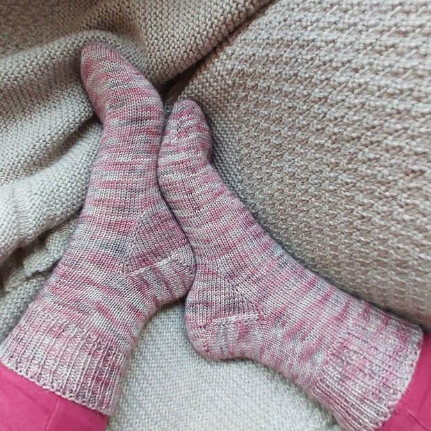 Toe Up Vanilla Socks