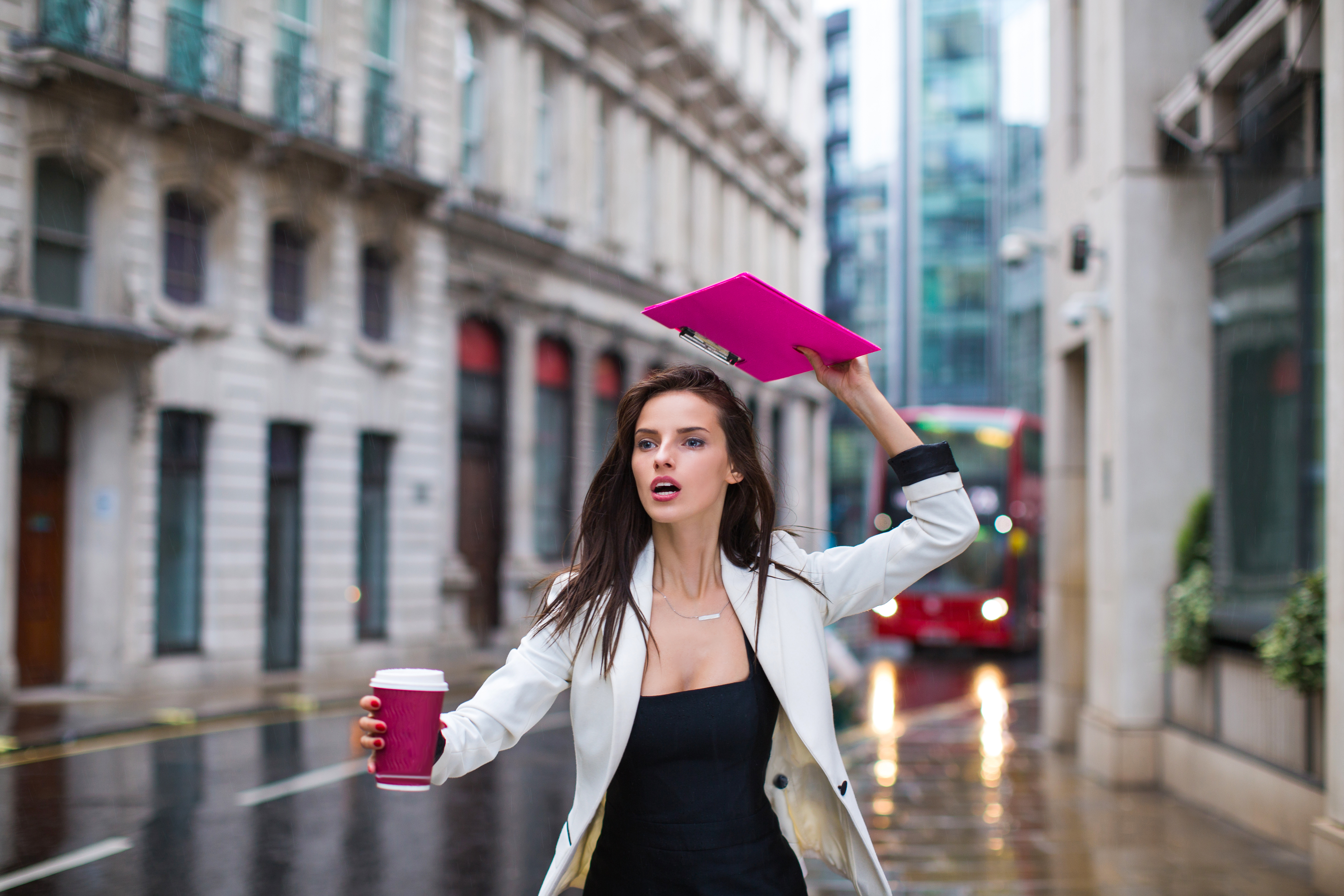 Business beautiful woman drinking coffee