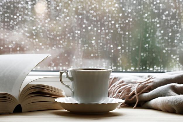 Porcelain cup with hot tea, soft blanket