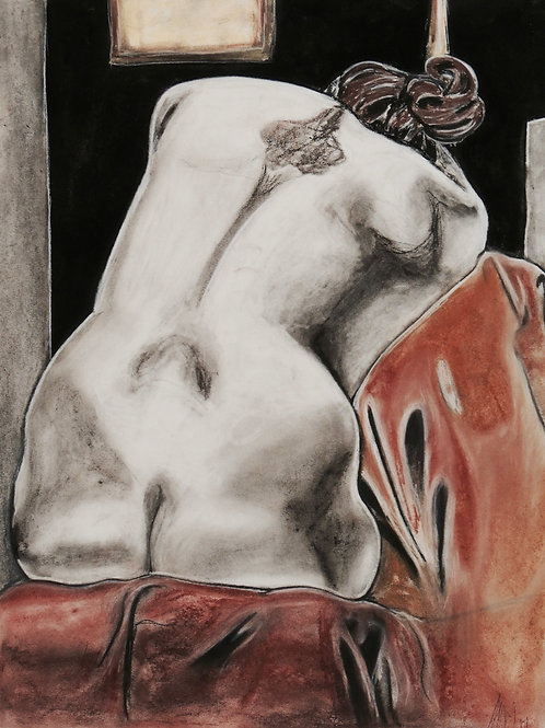 Large Nude Charcoal Drawing