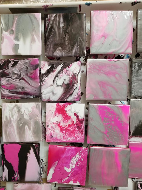 4x4 Pink and Silver Coasters