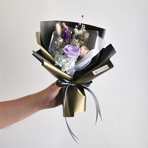 Mysterious Purple Preserved Flower Bouquet