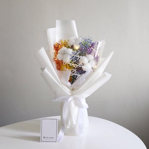 Cotton Flower Rainbow Baby Breath Bouquet