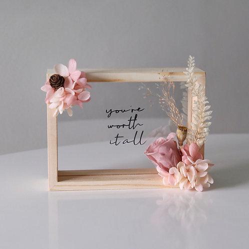 Pink Floral Wooden Frame