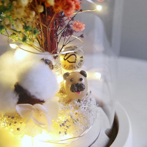 Handmade Pug LED Bell Jar