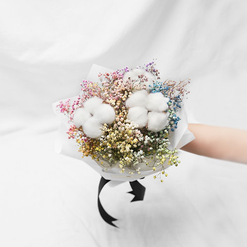Cotton Flower Rainbow Baby Breath Bouquet