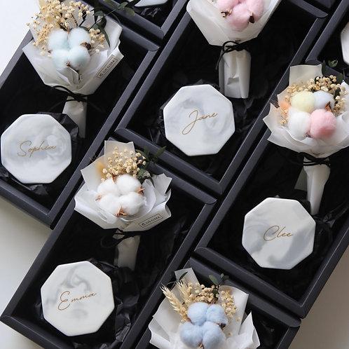 Cotton Flower x Marble Coaster Gift Set