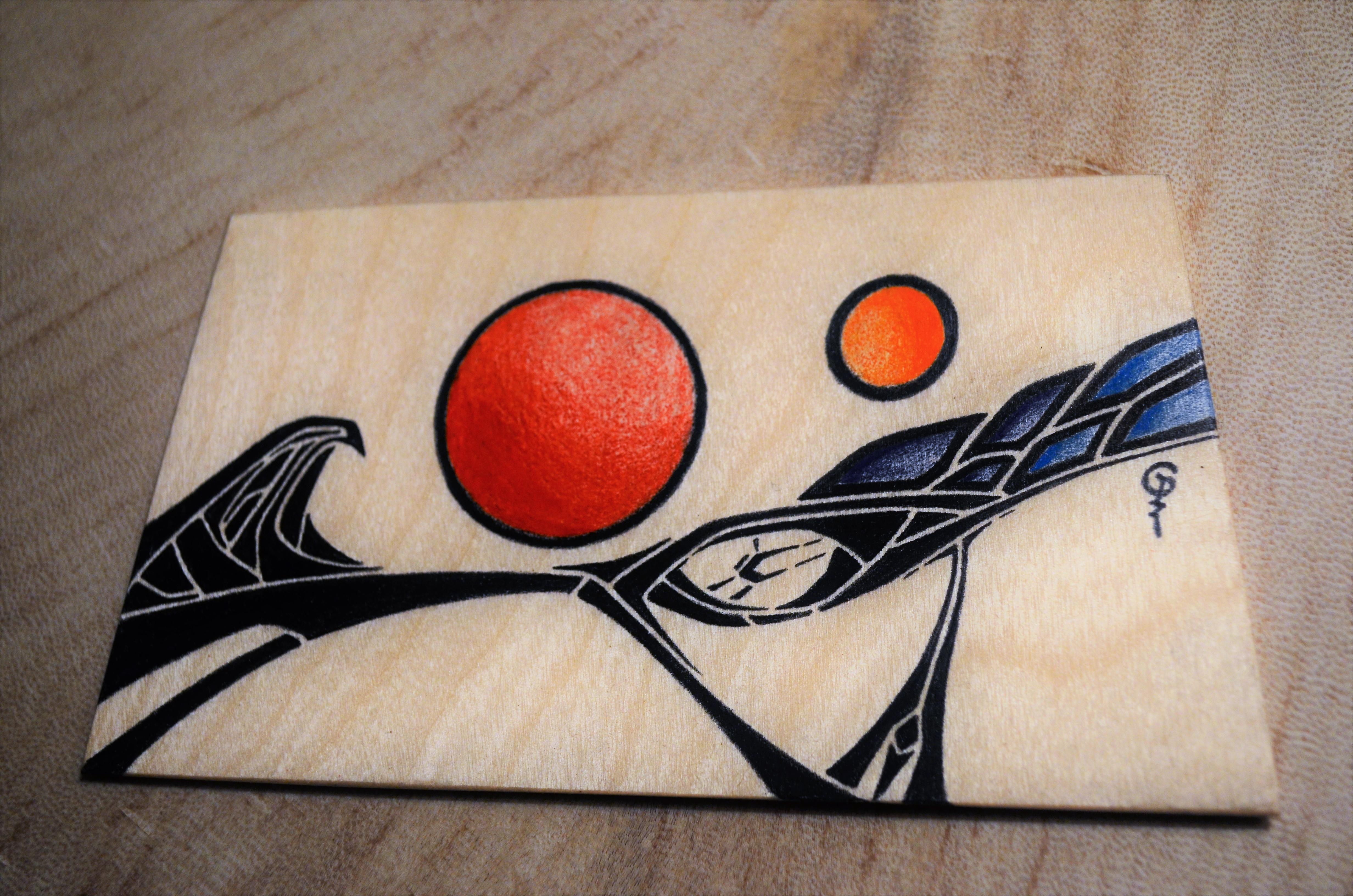 Pencil crayon on wood magnet