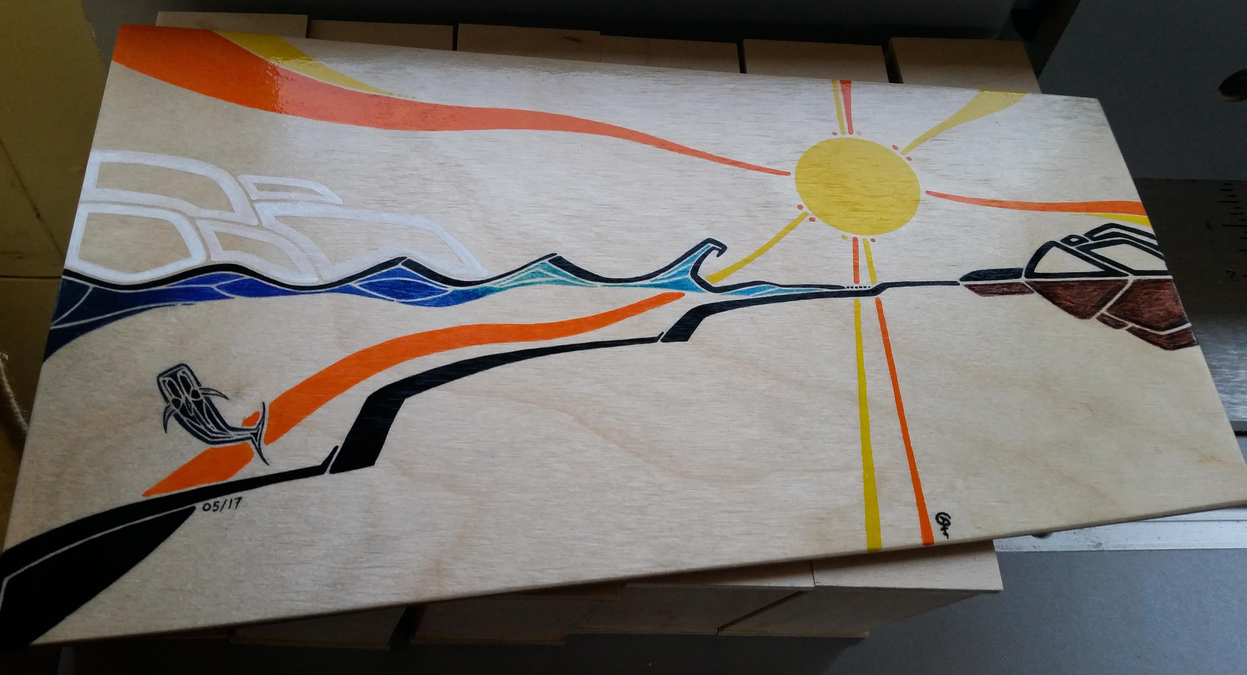 Bongo Cajon Custom Art, Surfing Cross-Section