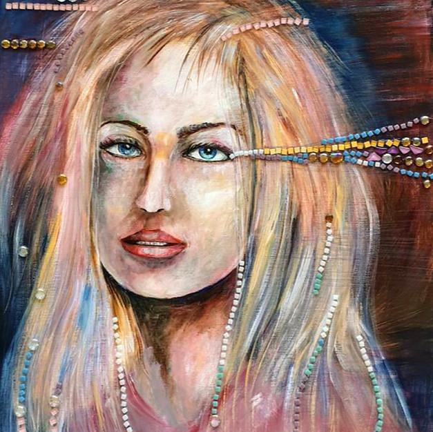 Lady wth mosaic glass stones